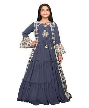 Betty By Tiny Kingdom Full Sleeves Floral Embroidery Smocking Detailed Gown - Blue