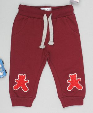 Flenza Full Length Teddy Patch Lounge Pants - Maroon