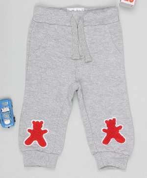 Flenza Full Length Teddy Patch Lounge Pants - Grey