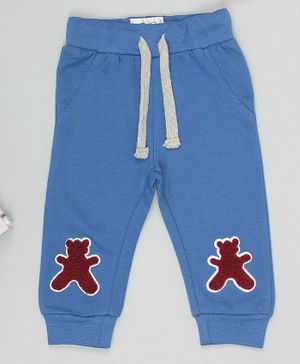 Flenza Full Length Teddy Patch Lounge Pants - Blue
