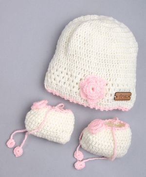 The Original Knit Flower Design Cap With Socks - Off White & Pink