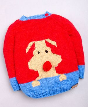 The Original Knit Full Sleeves Dog Design Sweater - Red