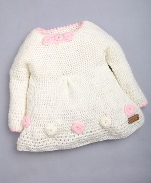 The Original Knit Full Sleeves Flower Design Sweater - Off White