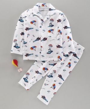Cucumber Full Sleeves Night Suit Parachute Print - White