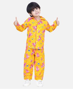 BownBee Full Sleeves Teddy Print Night Suit - Yellow