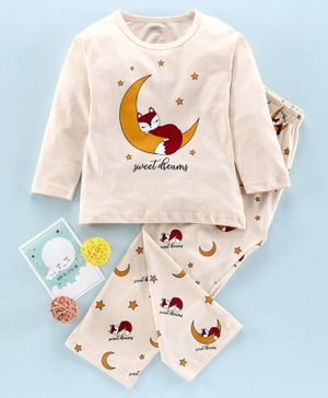 DoreMe Full Sleeves Night Suit Fox Print - Light Beige
