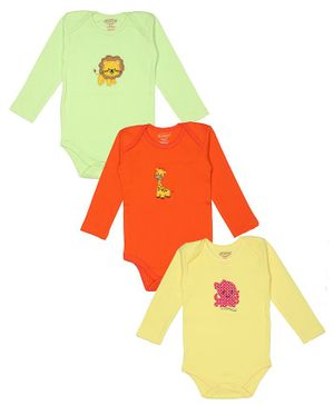 Grandma's Animal Patch Full Sleeves Pack Of 3 Onesies - Multi Color
