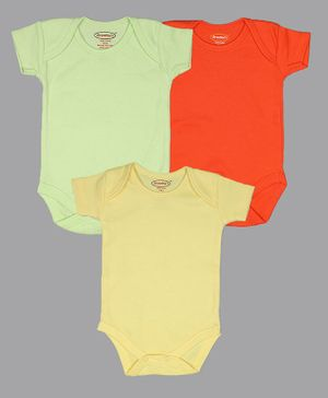 Grandma's Solid Short Sleeves Pack Of 3 Onesies - Multi Color