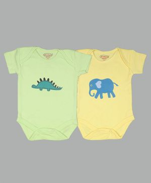 Grandma's Solid Short Sleeves Pack Of 2 Onesies - Green Yellow