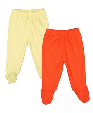 Grandma's Solid Pack Of 2 Footed Pyjamas - Orange & Yellow