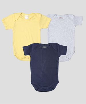 Grandma's Half Sleeves Onesies - Navy Blue Yellow Grey
