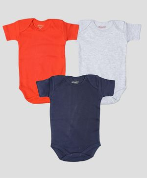 Grandma's Half Sleeves Solid Pack Of Three Onesies - Navy Blue Grey Red