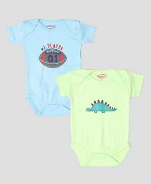 Grandma's Half Sleeves Football & Dinosaur Print Pack Of Two Onesies - Blue Green