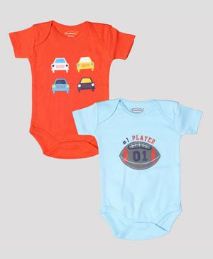 Grandma's Half Sleeves Pack Of Two Vehicle Print Onesies - Orange Blue
