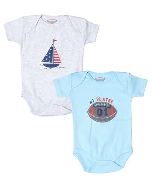Grandma's Half Sleeves Baseball Print Pack Of Two Onesies - Grey Blue