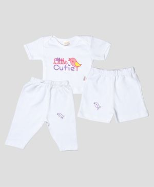 Grandma's Combo Set Half Sleeves Cutie Print Tee With Shorts & Pajama - White