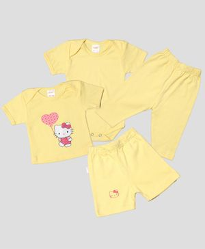 Grandma's Combo Set Pack Of 4 Kitty Print Tee With Onesie & Pajama With Shorts - Yellow