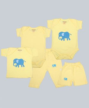 Grandma's Half Sleeves Combo Set Elephant Print Tee With Two Onesies With Shorts & Pajama - Yellow