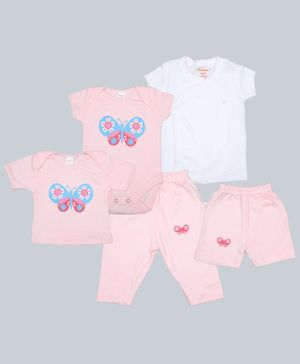 Grandma's Combo Pack Of 5 Butterfly Print Onesie With Shorts & Pajama With Tee - Pink