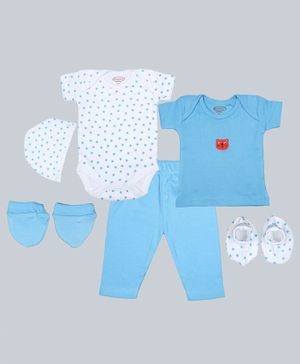 Grandma's Half Sleeves Tee With Star Print Onesie & Pajama & Cap With Mittens & Socks - Blue