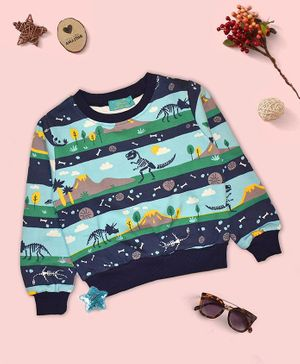 Tiara Soft Brushed Full Sleeves Dinosaur Print Sweatshirt - Blue