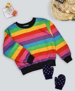 Tiara Soft Brushed Full Sleeves Striped Sweatshirt - Multi Color