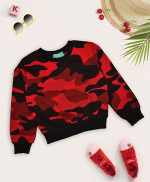 Tiara Winter Full Sleeves Camouflage Print Sweatshirt - Red