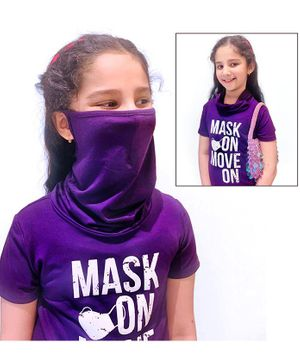 Tiara Short Sleeves Mask On Move On Print Tee With Attached Face Mask - Dark Blue