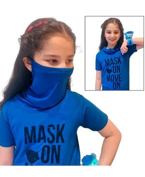 Tiara Short Sleeves Mask On Move On Print Tee With Attached Face Mask - Blue