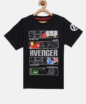 LOOCUST Half Sleeves Avengers Printed T-Shirt - Black