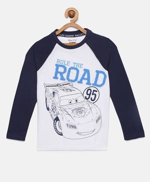 LOOCUST Full Sleeves Cars Printed T-Shirt - White