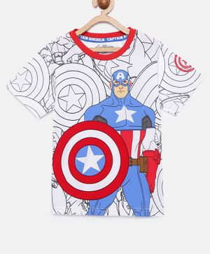 LOOCUST Short Sleeves Avengers Captain America Printed T-Shirt - White