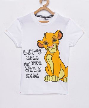LOOCUST  Short Sleeves Lion King Printed T-Shirt - White