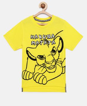 LOOCUST Short Sleeves Hakuna Matata Lion King Printed T-Shirt - Yellow