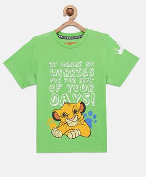 LOOCUST Short Sleeves Lion King Printed T-Shirt - Green