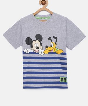 LOOCUST Short Sleeves Striped & Mickey Mouse Printed T-Shirt - Grey Melange