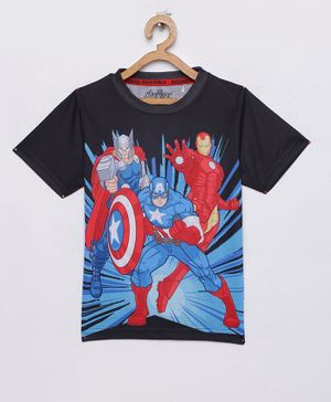 LOOCUST Captain America Avengers Printed Half Sleeves T-Shirt - Black