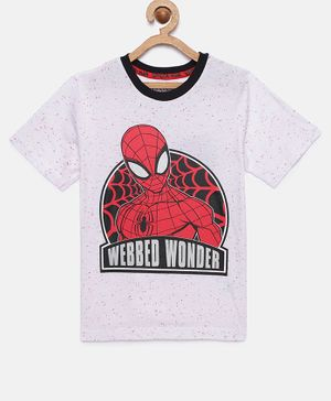 LOOCUST Spiderman Printed Half Sleeves T-Shirt - White