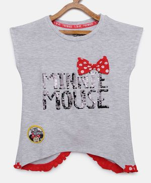 LOOCUST Cap Sleeves Minnie Mouse Sequence Top - Grey Melange