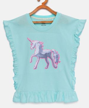 LOOCUST Short Sleeves Sequin Unicorn Detailing Top - Sky Blue