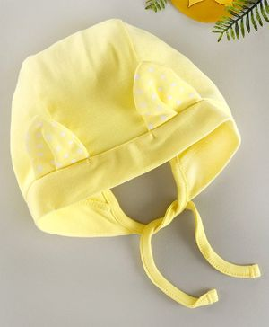 Babyhug 100% Cotton Cap with 3D Ears Yellow - Diameter 9.5 cm
