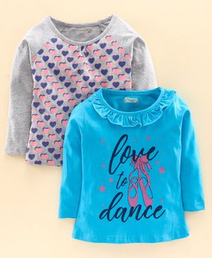Eteenz Full Sleeves Top Heart & Text Print Pack of 2 - Blue Grey
