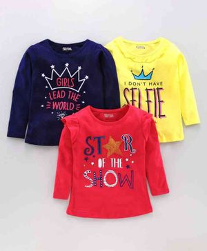 Eteenz Full Sleeves Tee Text Pack of 3 - Navy Blue Yellow Red