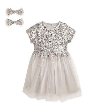 Cherry Crumble By Nitt Hyman Short Sleeves Sequin Embellished Flared Dress With Bow Hair Clips - Grey