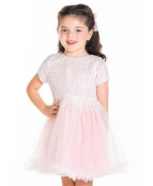 Cherry Crumble By Nitt Hyman Short Sleeves Sequin Embellished Flared Dress With Bow Hair Clips - Baby Pink
