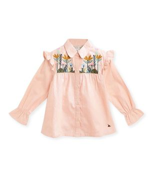 Cherry Crumble By Nitt Hyman Full Sleeves Flower Embroidery Detailing Top - Light Pink