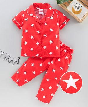 Babyhug Half Sleeves Woven Nightsuit Star Print - Red