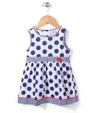 Sela Sleeveless Frock Polka Dot Print - Navy Blue