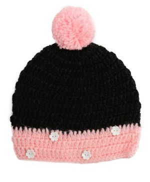 Buttercup from KnittingNani Cap With Pom Pom - Black & Pink