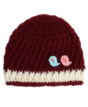 Buttercup from KnittingNani Cap With Bird Appliques - Maroon